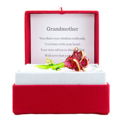 About Face Designs - 'Grandmother' Red Rose Messenger - With a heartfelt design and striking box, this messenger decoration is a surefire way to delight the special someone in your life. �� 2'' W x 3'' H x 1'' D Glass Imported