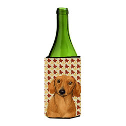 Caroline's Treasures - Dachshund Fall Leaves Portrait Wine Bottle Koozie Hugger - Dachshund Fall Leaves Portrait Wine Bottle Koozie Hugger Fits 750 ml. wine or other beverage bottles. Fits 24 oz. cans or pint bottles. Great collapsible koozie for large cans of beer, Energy Drinks or large Iced Tea beverages. Great to keep track of your beverage and add a bit of flair to a gathering. Wash the hugger in your washing machine. Design will not come off.