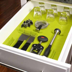 Silicone Drawer Organizer Set - Lime (Set of 16) - Bring organization and fun to your kitchen drawers with the unique Silicone Drawer Organizer Set - Lime. The fun lime green silicone base mat is 20 inches by 14 inches but can be cut easily to perfectly fit any size drawer in your kitchen. This starter set includes 15 dividers (Divitz) which can be arranged on the silicone base mat to keep your kitchen utensils secure and prevent sliding. The silicone material is easy to clean and food grade safe. The Lime Silicone Drawer Organizer Set is great for use in utensil drawers, desks, tools, and more!