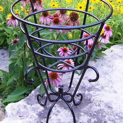 Oakland Living - Gold Cup Plant Stand in Black - Made of Durable Cast Iron Construction. Easy to follow assembly instructions and product care information. Stainless steel or brass assembly hardware. Fade, chip and crack resistant. 1 year limited. Lightweight and constructed of durable iron. Hardened powder coat finish in Black for years of beauty. Black finish. Some assembly required. 19 in. W x 19 in. L x 25 in. H (20 lbs.)This plant stand will be a beautiful addition to your patio, balcony or outdoor entertainment area. Our plant stands are perfect for any small space, or to accent a larger space.