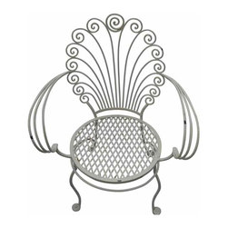Wrought Iron Shell Chair - Vintage white wrought iron garden chair. Elegantly weathered, its scallop shell shaped back sets it apart from the crowd.