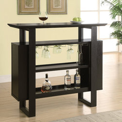 Monarch Specialties - Monarch Specialties 2548 Bar Unit w/ Bottle & Glass Storage in Cappuchino - This stylish and contemporary bar unit offers great features and functionality.  Space saving wine glass racks and ample shelf space for bottle storage makes this bar unit the ultimate entertaining spot in your home.  There is a rich Cappuchino finish with a large serving space on top.