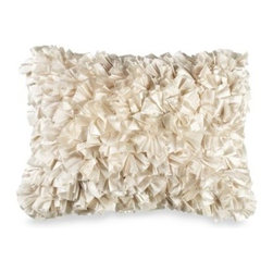 Spencer N. Enterprises - Extreme Ruffles 15-Inch x 20-Inch Decorative Toss Pillow in Ivory - Layers of gathered fabric create the dramatic look of this whimsical toss pillow. The pillow makes a fun accent on any bed or couch, and gives dimension and depth to your decor.