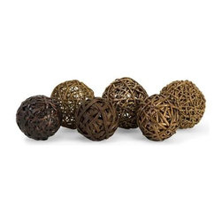 Worren Natural Wrapped Balls - Set of 6 - The Worren natural wrapped balls are crafted from willow, seagrass and rope and add an earthy element to any home.