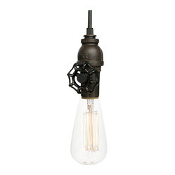 Vintage Upcycled Valve Pipe Pendant Light – Oil Rubbed Bronze