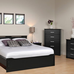 "Prepac Coal Harbor Bedroom Set in Black - Bedroom Set includes Queen Size Bed with Headboard, 2 Nightstands and Dresser. Constructed from CARB compliant composite wood finished in rich, deep laminates, the Coal Harbor Bedroom Set has an urban and sophisticated style making it ideal for contemporary, transitional and eclectic decor. Wooden slats provide ample mattress support and the mattress fits snuggly into a 3"" deep recess in the bed frame. Sides are finished with sturdy 3.5"" wide MDF rails, with openings underneath to provide optional storage space for baskets or tote boxes."