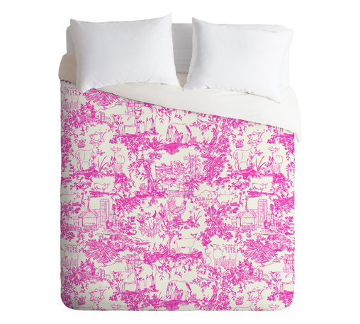 DENY Designs - Rachelle Roberts Farm Land Toile In Pink Duvet Cover - Turn your basic, boring down comforter into the super stylish focal point of your bedroom. Our Luxe Duvet is made from a heavy-weight luxurious woven polyester with a 50% cotton/50% polyester cream bottom. It also includes a hidden zipper with interior corner ties to secure your comforter. it's comfy, fade-resistant, and custom printed for each and every customer.