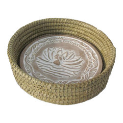 The Crabby Nook - Handwoven Bread Roll Basket w Lotus Terracotta Warming Tile - The Lotus represents Purity, Compassion and Love.