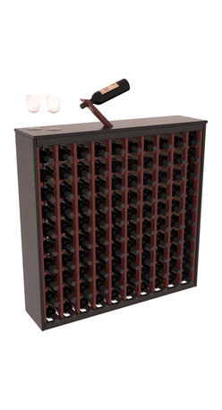 Two Tone 100 Bottle Deluxe Wine Rack in Redwood with Black/Cherry Stain - Styled to appear as wine rack furniture, this wooden wine rack will match existing decor while storing 100 bottles of wine. Designed to look like a freestanding wine cabinet, the solid top and sides promote the cool and dark storage area necessary for aging wine properly. Your satisfaction and our racks are guaranteed.  All Two-Tone racks include a professional grade eco-friendly satin finish and come with a free matching magic bottle balancer.