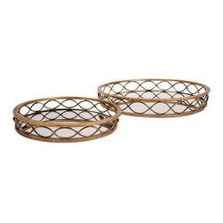 Prestco Mirror Tray - Set Of 2 - Elegant ellipses: A pair of mirrored metal trays in two sizes are ringed with classic, contiguous oval shapes and finished in antique gold. Details,