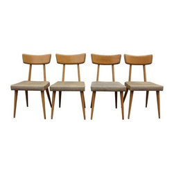 Pre-owned Mid-Century Dining Chairs in Tan Upholstery - This set of four vintage Mid-Century dining chairs feature sculptural, classic shapes and easy to style color schemes. They can work well in casual and dressy settings depending on your desired level of formality.