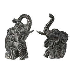 Bakari Wood Carved Elephants - Set of 2 - These adorable hand crafted Bakari wood elephants' playful nature add fun and excitement to any room.