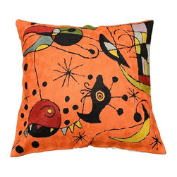 """Modern Wool - Miro Creatures Orange Wool Cushion Cover Hand Embroidered 18"""" x 18"""" - Miro creatures orange wool pillow cover- Exquisite chain-stitch needlepoint embroidery and design inspired by the works of modern artist, Joan Miró. Creatures in the manner of his 'Constellations' portfolio abound here, in fine Miro style modern pillow cover. Vibrant colors are used to create a contemporary and festive atmosphere. These unique pillows work as an excellent throw pillows and are a must for accessorizing any sofa, couch or chaise lounge. Available in orange (pictured here), white, green, or red background."""