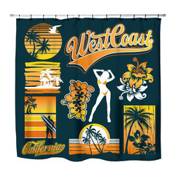 "Surfer Bedding - Eco Friendly ""West Coast Dreamin"" Beach Themed Shower Curtain - ""West Coast Dreamin"" Surfer Shower Curtain from our ""Extremely Stoked"" Surfer Bed and Bath Collection."