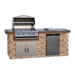 Cal Flame - Cal Flame 8 ft. BBQ Island with Gas Grill - Autumn Pro Fit Stone Multicolor - LB - Shop for Grills from Hayneedle.com! The Cal Flame 8 ft. BBQ Island with Gas Grill - Autumn Pro Fit Stone lets you create an outdoor kitchen that will become the center of attention at any gathering. This handsome unit offers a quality grill complete with side burner and refrigerator. Its generous countertop offers plenty of workspace and sits above an Autumn Pro-Fit Ledgestone stone base. The grill features a stainless steel finish stainless steel wire grate and heavy duty components. Each knob operates a separate Piezo ignition for added convenience. The 4 burners offer up to 60 000 BTUs of cooking power. Below the grill is a spacious double door for added storage. A handy side burner offers extra cooking space while an included stainless steel refrigerator features 5 removable shelves and internal lighting.About Cal FlameCal Flame was founded in 2000 and has been building award-winning customized grill solutions ever since. This complete line of 304 stainless steel grills accessories fire pits and more works seamlessly together to provide a chef-level experience in your backyard. They're designed with experience and built for reliability and can be built into a custom island or dropped into a movable grill cart. Your configuration is entirely up to you go ahead design the outdoor kitchen of your dreams!