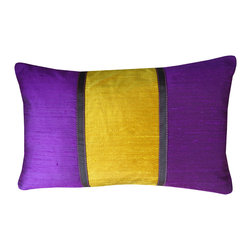 Jiti - Pieces Purple Orange Pillow - Add a pop of color to your home decor with our Pieces Purple Orange Pillow. Perfect for any Room! This pillow is made of 100% Silk with 95% Feather and 5% down. Invisible zipper closure. Dry Clean Only