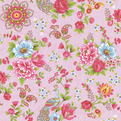 Eijffinger - Pink Paisley Floral Wallpaper - Playful paisleys, delicate blossoms, and perched peacocks create a festive, feminine pattern on your wall. This unpasted, nonwoven material wallpaper was made in the Netherlands, and is built to last. This versatile roll gives you plenty of square feet of washable, strippable, elegant paper.