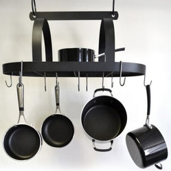 J & J Wire Hanging Pot and Pan Rack with Shelf