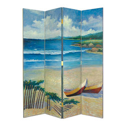 Wayborn - Wayborn Hand Painted The Beach Room Divider - Wayborn - Room Dividers - 2255 - Wayborn hand painted screens start with a cedar plywood frame covered in a cheesecloth material. Then layer after layer of plaster is applied; each layer must dry before another layer can be applied. After all the plaster has been applied several coats of lacquer is put over the entire surface. At that time the artist begins to sketch out the painting directly on the panels of the screen and begins painting the design with water based paint.  Each one of these screens has its own characteristics and is truly a work of art.