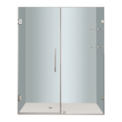 "Aston - Aston Nautis GS 60x72, Completely Frameless Hinged Shower Door, Stainless - Utility meets luxury with the Nautis GS completely frameless hinged swinging shower door. Available in a multitude of dimensions - from 36"" to 60"" in width (72"" height) - the Nautis GS consists of a fixed glass panel with a built-in two-tier shelf storage system and a hinged swinging glass door panel. All Nautis GS models feature 10mm ANSI-certified clear tempered glass, stainless steel or chrome finish hardware, self-closing hinges, premium leak-seal clear strips and is engineered for reversible left or right hand installation. Includes a 5 year limited warranty; base not included."