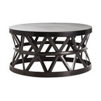 Stanley Costello English Bronze Cocktail Table - Dark crafted finish makes the Stanley Costello English Bronze Cocktail Table a weighty piece of old-world style for the transitional interior, but the basket-like scaffolding texture that fills its hourglass drum-shaped walls lightens the severity of this hammered iron surface. An ideal coffee table for giving an unmistakable center point to a spacious living room, this table has primeval impact.