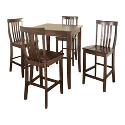 Crosley Furniture - 5 Pc Pub Dining Set w School House Stools in - Includes Pub Table and 4 Stools in Vintage Mahogany. Solid Hardwood & Veneer Construction Table . Solid Hardwood Stools. Hand Rubbed, Multi-Step Finish. Solid Hardwood, Carved Cabriole Style Legs. Shaped Back for Comfort. Table Dimensions: 36 in. H x 32 in. W x 32 in. D. Stool Dimensions: 40 in. H x 18.5 in. W x 22.5 in. DConstucted of solid hardwood and wood veneers, the 5 piece Pub / High Dining set is built to last. Whether you are looking for dining for four, or just a great addition to the basement or bar area, this set is sure to add a touch of style to any area of your home.