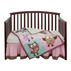 Calico Owls 3-Piece Crib Bedding Set by Bananafish