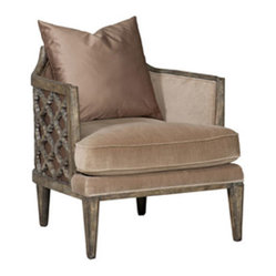 Hooker Furniture - Accent Armchair - You be sitting pretty is this luxe yet cozy armchair. Its back, arms and seat cushion are covered in soft pewter, and its accent pillow is a glossy jute.