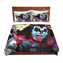 DiaNoche Designs - Duvet Cover Twill - Gene Simmons - Lightweight and soft brushed twill Duvet Cover sizes Twin, Queen, King.  SHAMS NOT INCLUDED.  This duvet is designed to wash upon arrival for maximum softness.   Each duvet starts by looming the fabric and cutting to the size ordered.  The Image is printed and your Duvet Cover is meticulously sewn together with ties in each corner and a concealed zip closure.  All in the USA!!  Poly top with a Cotton Poly underside.  Dye Sublimation printing permanently adheres the ink to the material for long life and durability. Printed top, cream colored bottom, Machine Washable, Product may vary slightly from image.