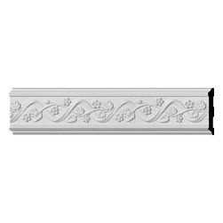 """Ekena Millwork - 4 1/4""""H x 3/4""""P x 96""""L Floral Chair Rail - Our casing & chairrail collections offer stylings from traditional to victorian, from simple to ornate.  Each piece is modeled after historical designs and styles and are used in a variety of applications.  Chairrail is typically installed at chair height and looks great in almost any room.  Casing is primarily used around doors and windows.  And with our polyurethane material it can be used on the interior or exterior of your home."""