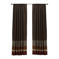 Lush Decor - Lush Decor Iman Curtain Panel in Red & Gold - Curtain rod, lamp and round table not included. Rod pocket slides onto curtain rod for installation. Dry clean. Single valance with lining. Faux silk. 100% Polyester. 84 in. L x 54 in. W (2 lbs.)