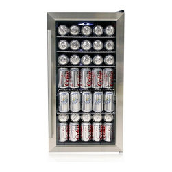 Whynter - Whynter Stainless Steel Beverage Refrigerator - 117 standard 12 oz. can or 27 wine bottles capacity. stainless steel trimmed glass door with sleek black cabinet. Pro-style stainless steel towel bar handle. Mechanical temperature control with temperature range from high 30ºF - mid 60ºF. Soft interior LED lighting with on/off switch. Freestanding setup. Powerful compressor cooling. Five removable flat slide out chrome shelves. Top shelf: 15 can capacity. Second shelf: 15 can capacity. Third shelf: 15 can capacity. Fourth shelf: 25 can capacity. Fifth shelf: 25 can capacity. Bottom: 22 can capacity. Voltage: 115V /60Hz. Power: 85 watts  / 1.3 Amps. ETL listed. 1-Year warranty. Product dimensions: 18.5 in. L x 17 in. W x 33 in. HThe Whynter Beverage Refrigerator / Cooler offers premium quality and innovative design ideal for your entertaining needs. Whether for the office, the yacht or home, Whynter Beverage Refrigerator / Cooler is a centerpiece of any space. The powerful compressor cooling system offers optimum temperature (mid 30ºF to mid 50ºF) for soda, beer or wine storage. The premium appeal of the BR-125SD features an exclusive stainless steel trimmed door and stainless steel towel bar handle. The five removable flat chrome racks in the unit allow for maximum storage capacity. Optional scalloped chrome racks are also available for optimized wine bottle storage.