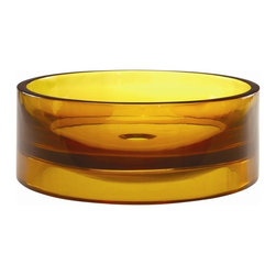 Decolav - Incandescence Round Above Counter Resin Sink - Manufacturer SKU: 2806-HNC. Crafted from a unique resin material that is durable and easy to clean. Round with flat bottom and perpendicular walls. Designed for above-counter use. No overflow. Pair with Decolav umbrella drain - not included. 15.75 in. L x 15.75 in. W x 5.68 in. H. Installation Instructions. Cutout TemplateDECOLAV's Incandescence Round Above Counter Resin Lavatory shows off the depth and tones of the sink colors. Unique to this lavatory is its ability to be used as both an above counter vessel or semi-recessed lavatory. Skillfully cast of resin, this lavatory is not only durable, but extremely easy to care for.
