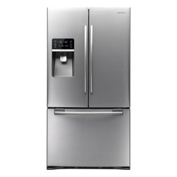 """Samsung - RFG297HDRS 36"""" 29 Cu. Ft. French Door Refrigerator with Thru-the-Door Ice and Wa - Organize your groceries with this refrigerator that features spill-proof shelves and 2 humidity-controlled crispers for ample storage space The Twin Cooling Plus temperature management system keeps meat vegetables and more fresh"""