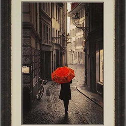 Home Decorators Collection - Red Umbrella Wall Art - The Red Umbrella Wall Art, a print of artwork by Stephano Corso, features black, white and sepia tones with one pop of red color for visual effect. The painting evokes romance and nostalgia with its demure illustration. This wall decor features an espresso frame with a silver lip and sand and charcoal double matting. Espresso frame. Made in the USA.