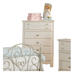 Standard Furniture - Standard Furniture Spring Rose 33 Inch Chest in White - Spring Rose Features a traditional look, inspired by classic European Victorian design. Wood products with simulated wood grain laminates. Group may contain some plastic parts. French dovetail. Roller side drawer guides. Dust proofing underneath protects items in drawers from up drafting dust. Clear colored knobs with fancy filigreed pattern back plates in a silver color finish. White pearlescent color finish creates lasting, attractive and easy-to-clean surfaces. Surfaces clean easily with a soft cloth.