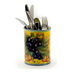 Artistica - Hand Made in Italy - UVA FONDO GIALLO: Utensils Holder - UVA FONDO GIALLO: With its gorgeous Tuscan Yellow background, this all new collection feature products depicting grapes and foliage.