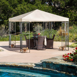 Christopher Knight Home - Christopher Knight Home Blue Ridge Gazebo - The Blue Ridge gazebo adds a luxurious touch to any outdoor living area. The polyester covering offers the perfect shade solution while maintaining a clean and sophisticated feel.