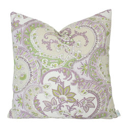 The Pillow Studio - Lilac and Green Pickfair Paisley Designer Pillow Cover- Schumacher fabric - I love this paisely by Timiothy Corrigan for Schumacher- it is the perfect balance of masculine and feminine design.