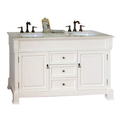 Bellaterra Home - 60 in Double sink vanity-wood-cream white - This single vanity will be the keystone of your bath or powder room. The strong classic design commands attention and and speaks volumes about your elegant taste. Constructed of environmentally friendly, zero emissions solid oak wood, engineered to prevent warping and last a lifetime. Top with cream marble top, variations in the shading and grain of our natural stone products enhance the individuality of your vanity and ensure that it will be truly unique.