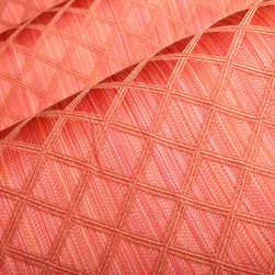 Varigated Trellis Upholstery in Melon - Varigated Trellis Upholstery in Melon. A designer cotton and rayon blend perfect for upholstering a chair, sofa or bench.