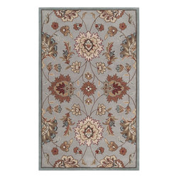 Surya - Hand Tufted Kingston Rug KGT-2000 - 5' x 8' - The styling of the Kingston collection is undoubtedly eclectic, incorporating the latest fashion colors of modern interiors with the classic lines of today's fabrics and accents. Set against a solid background the curving florals appear to dance across the rug. These painstakingly hand tufted beauties can be called colorfully neutral, and will compliment any space where traditional meets modern. Made in China from 1% polyester.