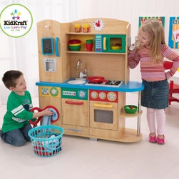 KidKraft - Cook Together Kitchen - Get out your chef's hat and apron, because it's time to cook up some fun! Our Cook Together Kitchen is perfect for any young chef who loves to help mom and dad in the kitchen and would make a great gift for any occasion. Features: -Cook together kitchen. -Material: MDF, Plastic. -Refrigerator, dishwasher, oven, microwave and washing machine doors all open and close. -Removable sink for quick and easy cleaning. -Knobs that click and turn. -Innovative speckled countertop design. -Additional storage space on the side and above the sink. -Natural finish with bright primary colors. -Smart, sturdy construction. -Cordless phone. -Clock with moving hands. -Packaged with detailed, step-by-step assembly instructions.