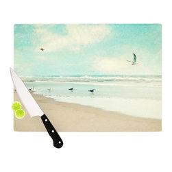 """Kess InHouse - Sylvia Cook """"Away We Go"""" Beach Seagull Cutting Board (11"""" x 7.5"""") - These sturdy tempered glass cutting boards will make everything you chop look like a Dutch painting. Perfect the art of cooking with your KESS InHouse unique art cutting board. Go for patterns or painted, either way this non-skid, dishwasher safe cutting board is perfect for preparing any artistic dinner or serving. Cut, chop, serve or frame, all of these unique cutting boards are gorgeous."""