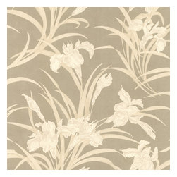Brewster - Vivianne Metallic Iris Floral  Wallpaper - Spring blooms and luscious leaves breathe new life into a room. In these muted fawn colors, this wallpaper will gently revive your favorite sitting room.