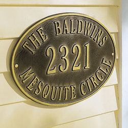 Personalized Hawthorne House Marker - This traditional house plaque is completely customizable. It's great looking and makes sure you're clearly identifiable.