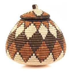 Zulu Ilala Palm Basket, Ukhamba - This is a fair-trade product made in South Africa. The weavers wrap strips of naturally waxy palm frond around coils of wild grasses to create this work of art that would also have many uses around the home.