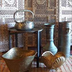 Fleur-de-Lis Flea Finds ~ Metal Vessels and Bowls - An Array of Exotic and Ethnic Flavored Metal Bowls, Metal Footed Bowls and Metal Vases or Vessels.