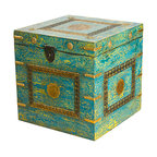 Everybody's Ayurveda - Teal Distressed Square Decorative Trunk In Wood and Metal - Teal Distressed Square Decorative Trunk. Wood and Metal. Hand painted with a distressed finish, the blue and green hues are complimented with brass accents and a medallion centerpiece. Antiqued hardware is used to latch the storage compartment. Perfect for storing magazines, photo albums and more!Package Includes:Wooden Trunk OnlyDimensions:Width: 18 inch
