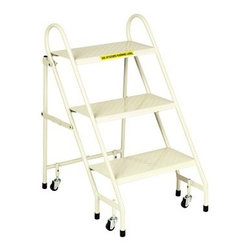 Cramer 3-Step Folding Steel Ladder - Beige - The Cramer 3-Step Folding Steel Ladder - Beige is ideal for use at work or home. It features a 16-gauge steel construction, powder coat finish, and weight activated spring casters for safe use. Rubber tipped feet don't scratch flooring. About CramerCramer has sitting around since the 1930s, and that's not a bad thing. Since making their first chairs for Hallmark artists after the Great Depression, the company has been dedicated to creating seats and stools for people in every profession. They make the world's best desk chair, sure, but they also make the step stools for the library and seats for nurses, scientists, workers and more. If you give a sit about where you work, trust in Cramer.